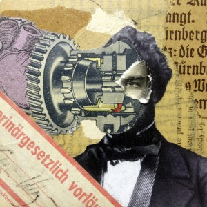 Der Eingriff analog paper collage on beer coaster privat collector